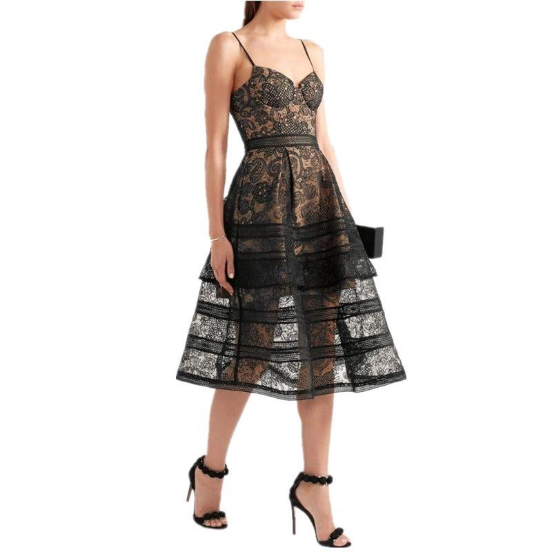 NEW  2017 Summer Dresses Women s Sexy Spaghetti Strap Lace Mid-Calf Dress  Crochet V Neck Backless Self Portrait SP Dress Vestid 290c5f814e73