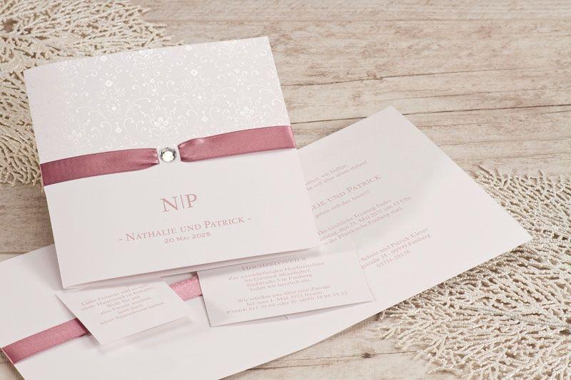 Hochzeitseinladung Mit Strassstein Und Altrosa Satinband Hochzeitseinladung Hochzeit Dekoration Hochzeit