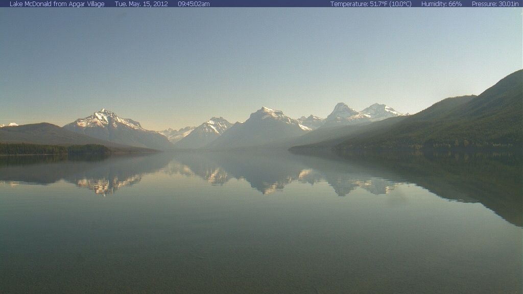 Glacier National Park Webcam - Click to see live image! A spectacular view near the south entrance, Lake McDonald offers a glimpse of the park's weather, sunsets and boating.