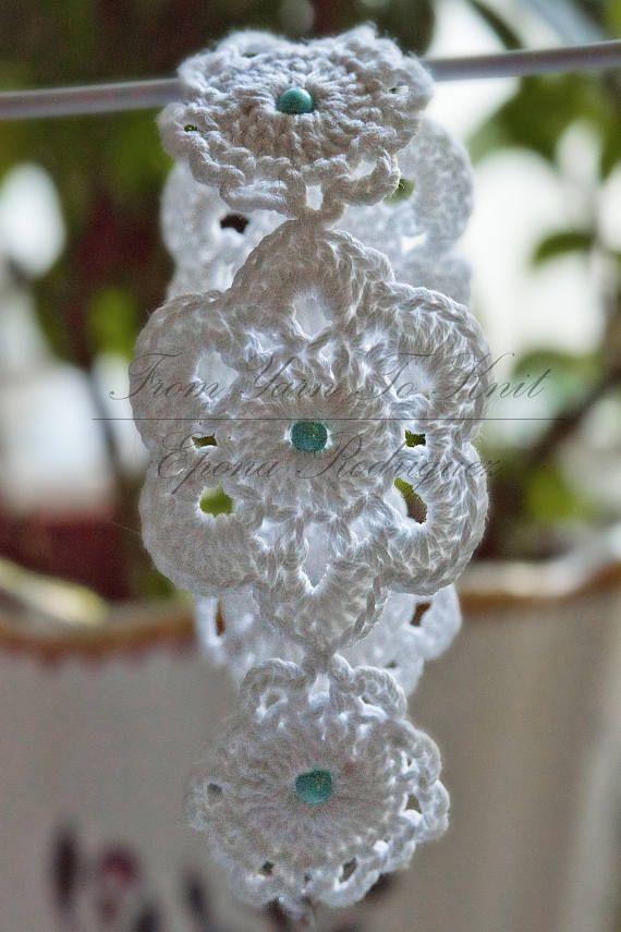 Bracelet au crochet,avec perles.Fait-main artisanat Français.
