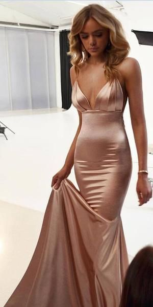 Spaghetti Strap Mermaid Elegant Long Bridesmaid Prom Dresses SG160