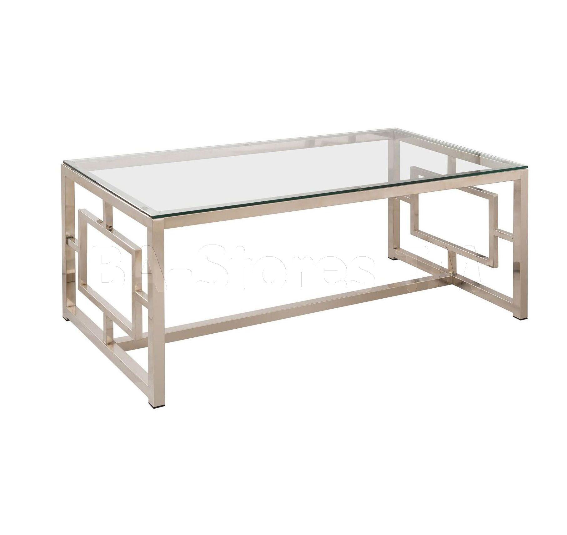 Satin Nickel Glass Top Coffee Table