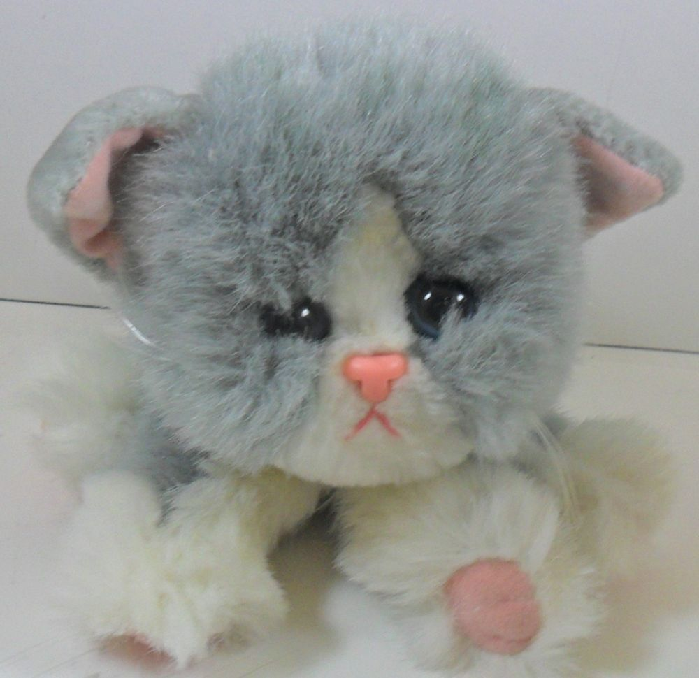 1992 Tyco Gray Kitty Kitty Kittens Purring Cat Plush Stuffed Animal