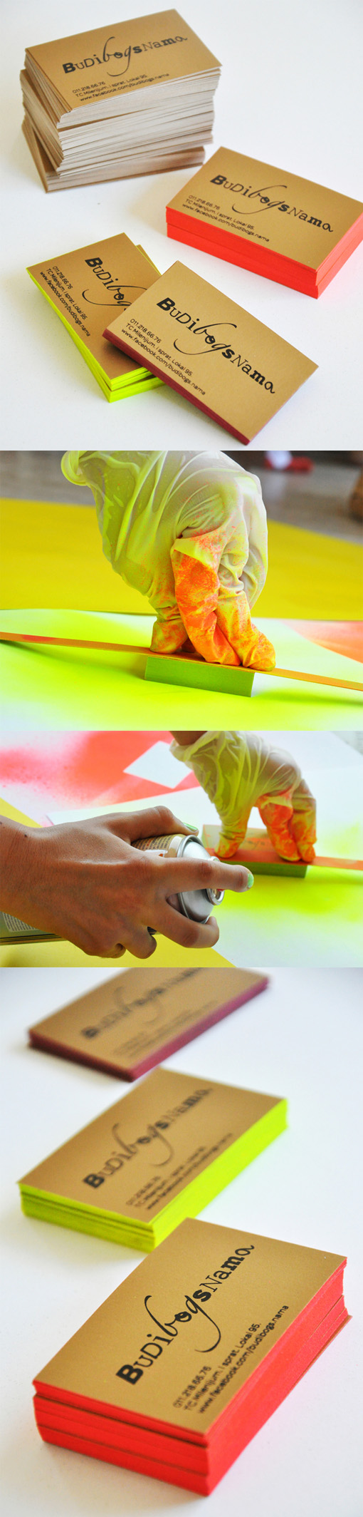 Bright Neon DIY Edge Painting Brings A Budget Business Card To ...