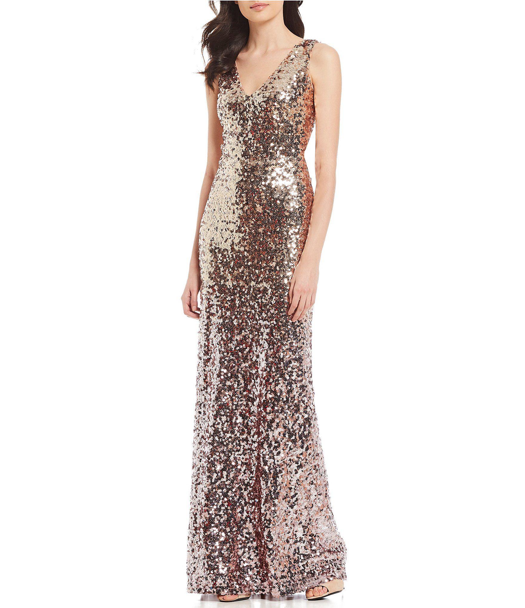 20145b6d79 Marina Sleeveless V Neck Ombre Sequin Gown  Dillards