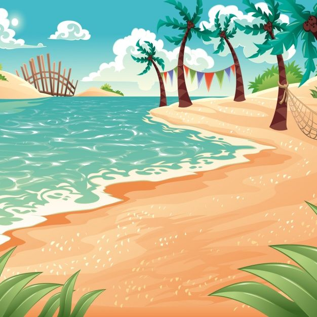 coloured beach background free vector digital scrapbooking rh pinterest nz Tropical Beach Scene Cartoon cartoon beach scene clipart