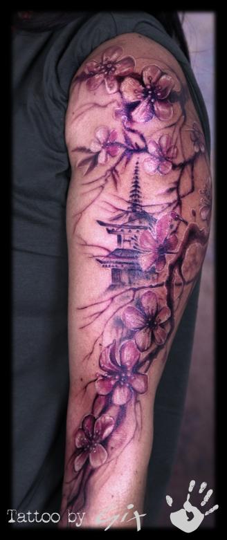 Cherry Blossom Temple Japanese Arm Color Arm Cherry Blossom Tattoo Men Tattoos For Women Half Sleeve Sleeve Tattoos For Women