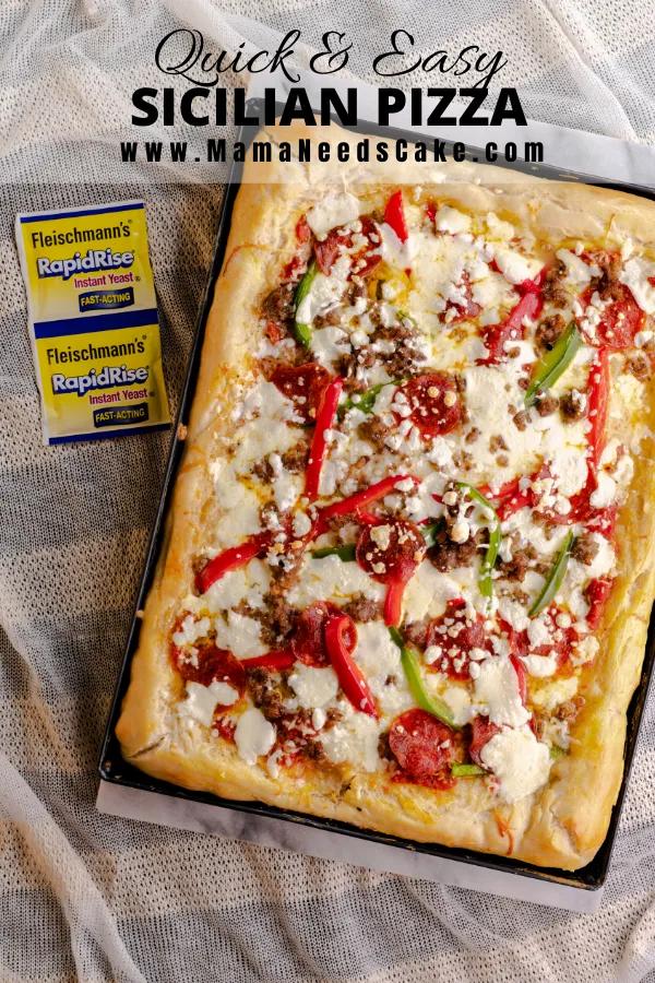 Quick Easy Sicilian Pizza Recipe In 2020 Sicilian Pizza Easy Recipes For Beginners Homemade Pizza Crust