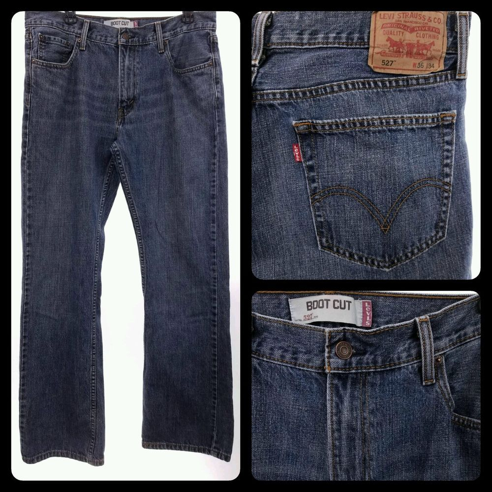 Men's LEVIS 527 BOOT CUT 36x36 Jeans 36 x 34 FREE US SHIPPING #1 ...