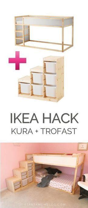 Ikea Hack für ein Kleinkind-Etagenbett - KURA plus TROFAST - super coole Idee! Das spart ich für mein Kinderzimmer! #Bunkbedsforboysroom #ikeaideen