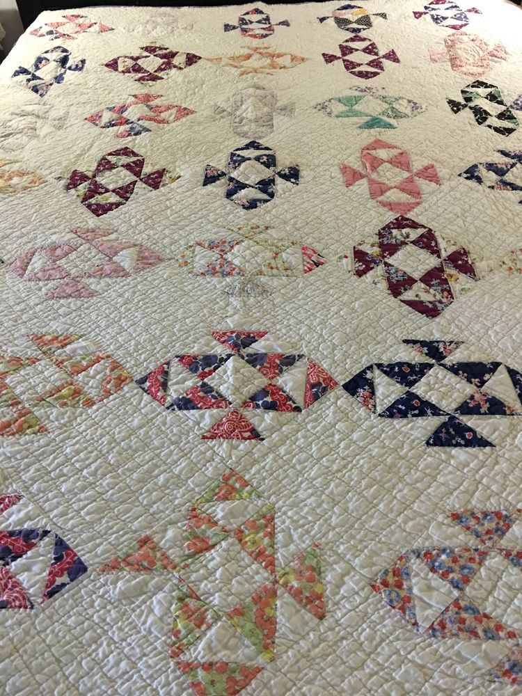 """VINTAGE HANDMADE PATCHWORK JACOBS LADDER QUILT 76"""" X 78"""" ALL OVER HANDQUILTED"""