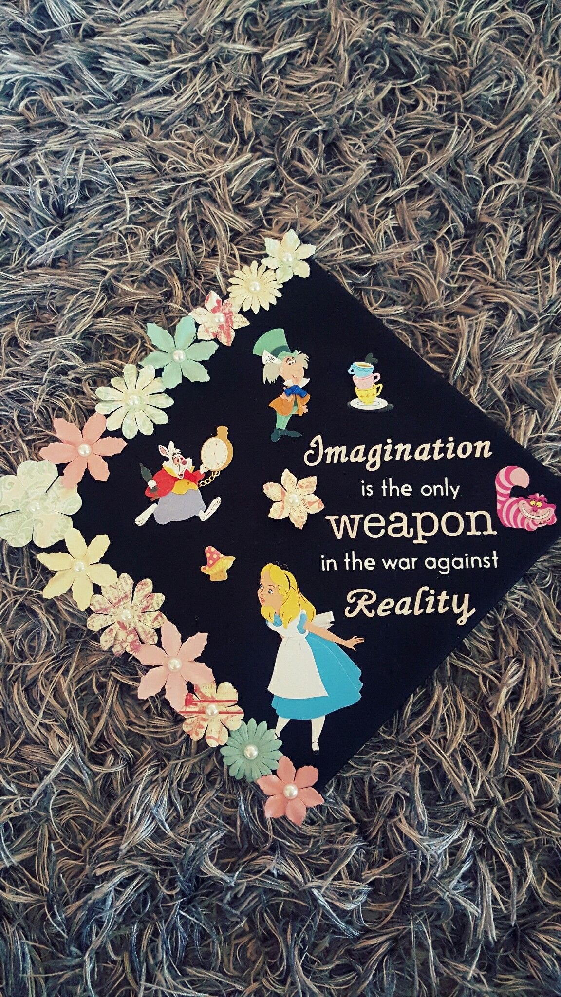 Lovely Wonderland Grad Cap Holidays Occasions Graduation Cap Quotes Alice Wonderland Grad Cap Alice Moms Graduation Cap Quotes 2018 inspiration Graduation Cap Quotes
