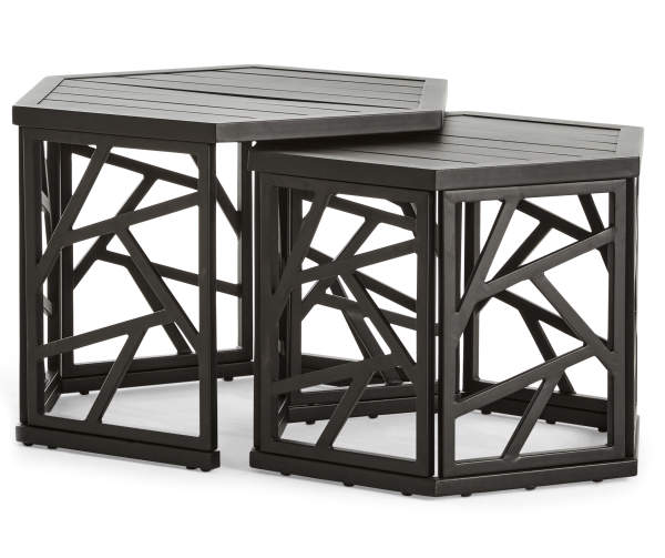 Real Living Verrado Black Nesting Hexagon Tables 2 Pack Big Lots In 2020 Big Lots Patio Furniture Patio Chairs Patio Side Table