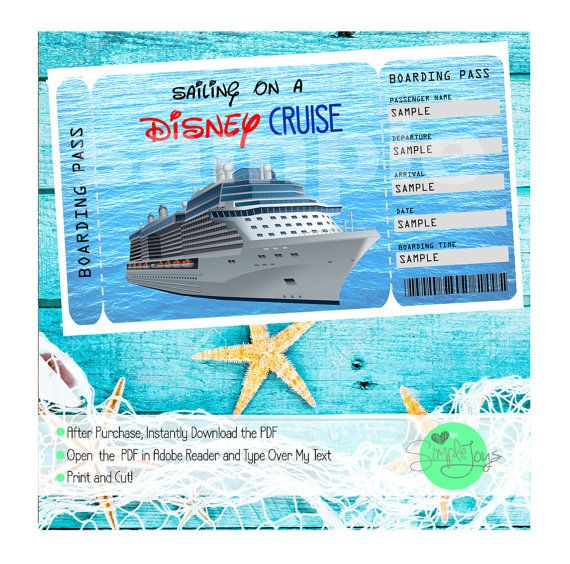 Disney Cruise Printable Ticket Surprise Vacation Trip Ticket Digital Pdf File You Fill And Print Cruise Tickets Printable Tickets Carnival Cruise