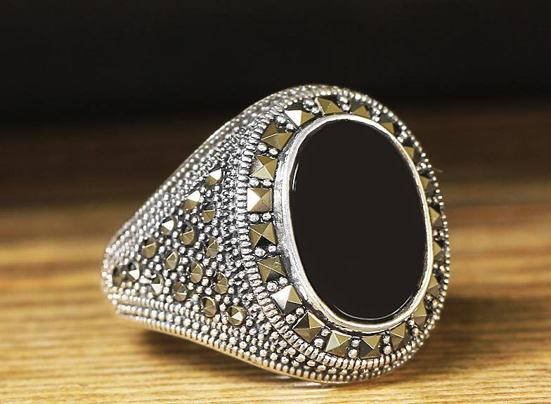 925 K Sterling Silver Man Ring Black Onyx 10.25 US Size #istanbul #Cluster