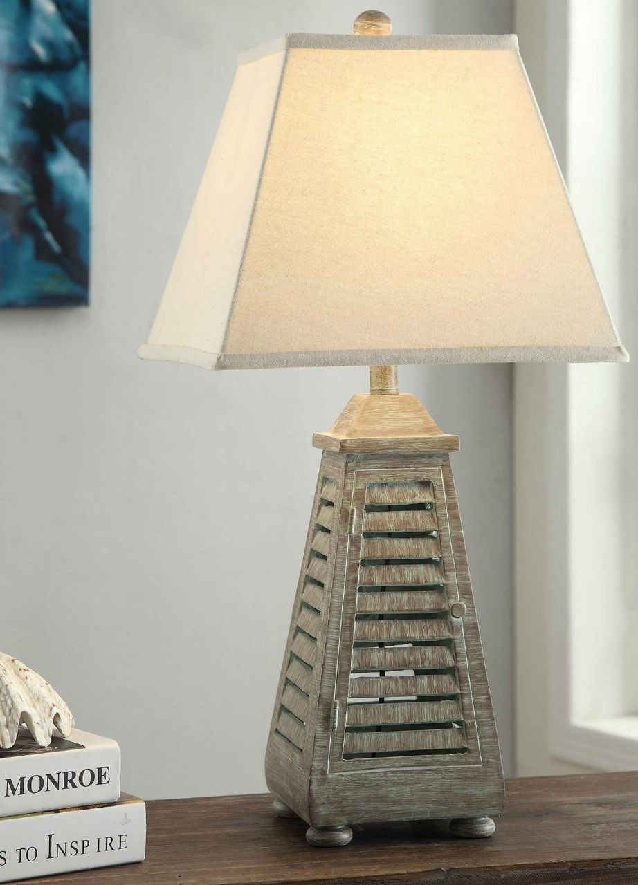 Distressed cottage table lamp shutter distressed cottage table lamp geotapseo Gallery