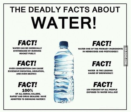 The deadly facts about water! •Fact! Water can be chemically synthesized by burring rocket fuel!!! •Fact! Over consumption can cause excessive sweating, urination, and even death!!! •Fact! 100% of all serial killers, rapist and drug dealers have admitted to drinking water!!! •Fact! Water is one of the primary ingredients in herbicides and pesticides!!! •Fact! Water is the leading cause of drowning!!! •Fact! 100% of all people exposed to water will die!!!