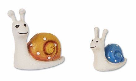 """This smiling snail family is an adorable addition to any mini garden. Measures: 0.75""""h and 1""""h Product is made of..."""