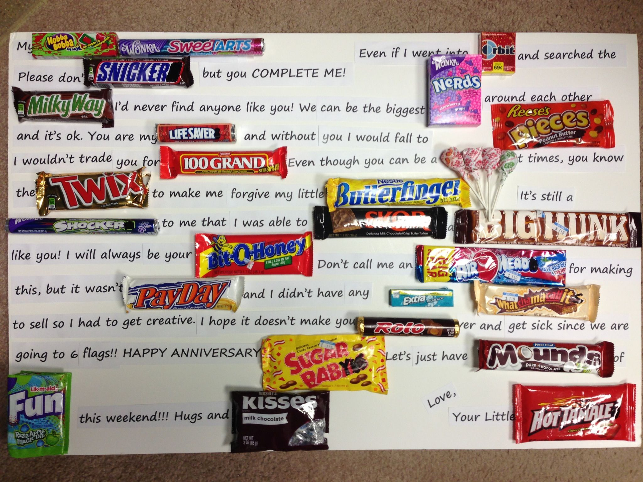 My 6 year anniversary gift to Chris! 6 year gift is candy