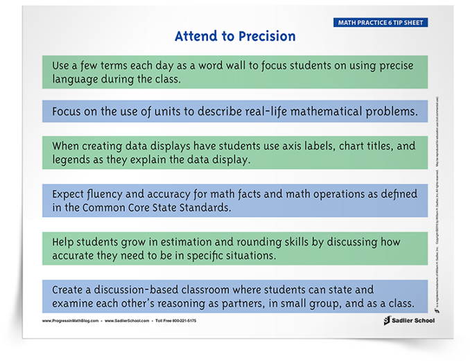Math Practice 6: Attend to Precision Tip Sheet (K–8) Mathematical ...