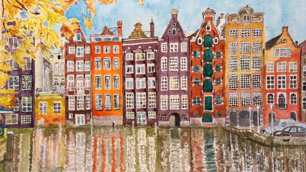 Painting Amsterdam S Cityscape Malarstwo Akwarele