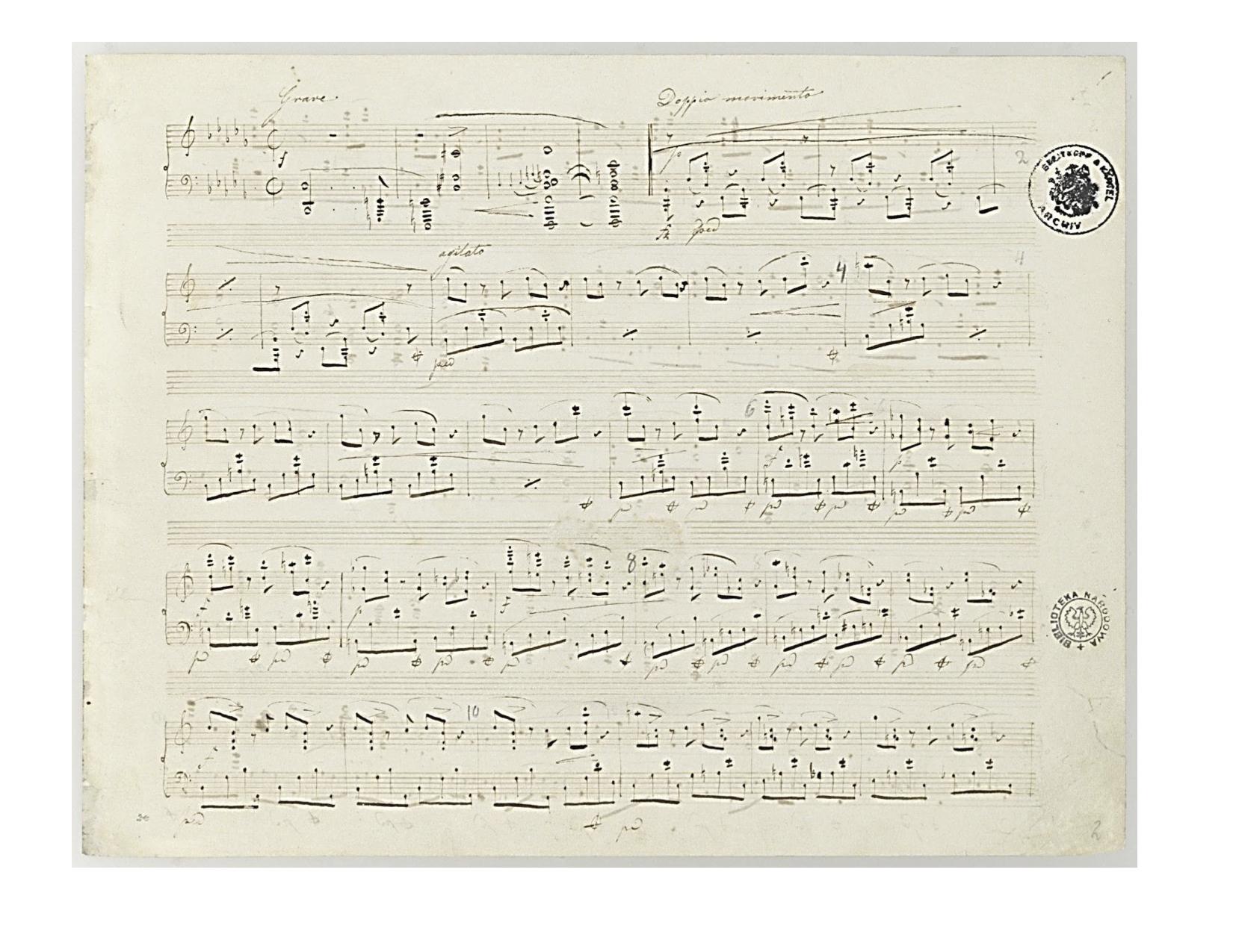Chopin, Manuscript of the Piano Sonata n°2, Opus 35