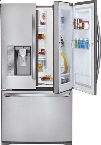 Lg 30 5 Cu Ft French Door Refrigerator With Thru The Door Ice And Water Stainless Steel 3 500 Cool Things To Buy Home Goods Decor French Door Refrigerator