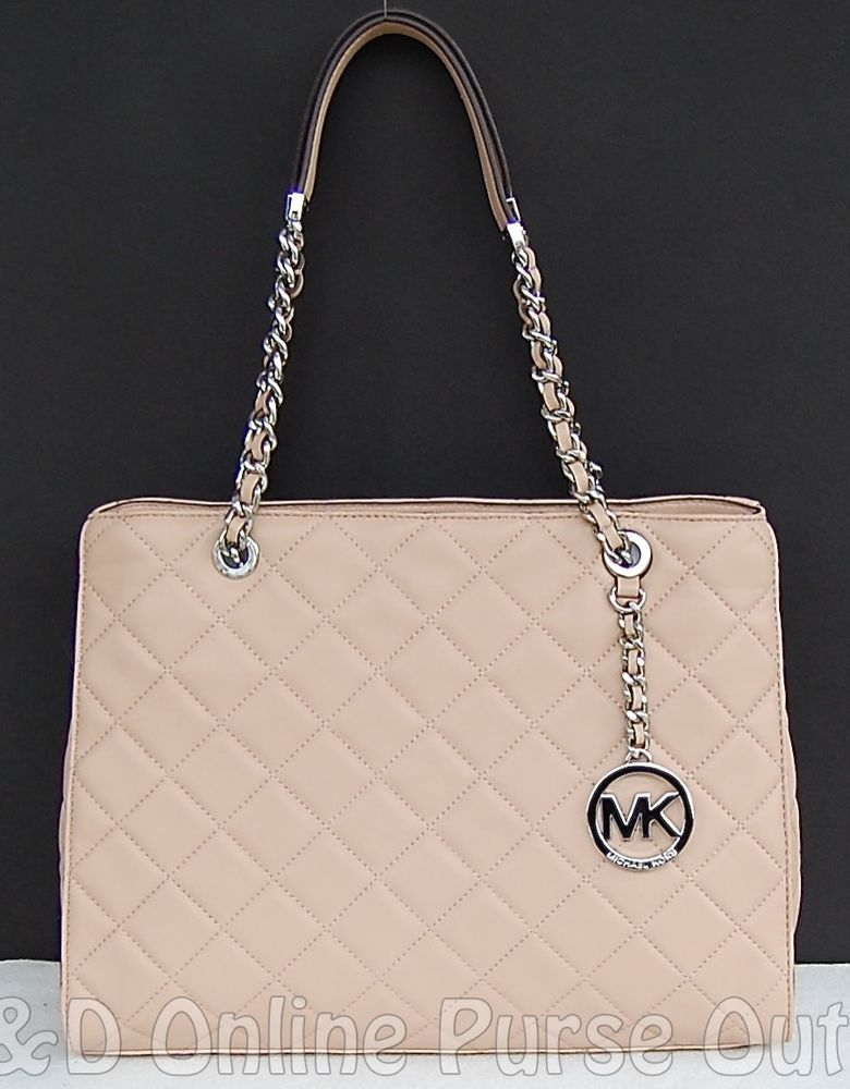 b1d5fcaa3b2f NWT Authentic Michael Kors Susannah Quilted Leather Large Tote Bag ~Blush   398  MichaelKors  TotesShoppers