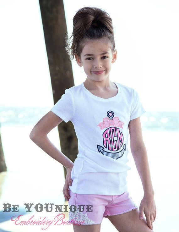 Anchor with Bow Monogrammed Applique T by BeYOUniqueEmbroidery, $20.00