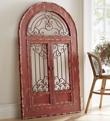 Stationary Doors And Arched Top Have Scrolled Metal Panels Solid Wood Distressed Red Finish No Embly Required