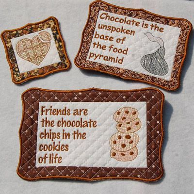 ITH Mug Rugs - Chocolate | Embroidery | Pinterest | Embroidery ...