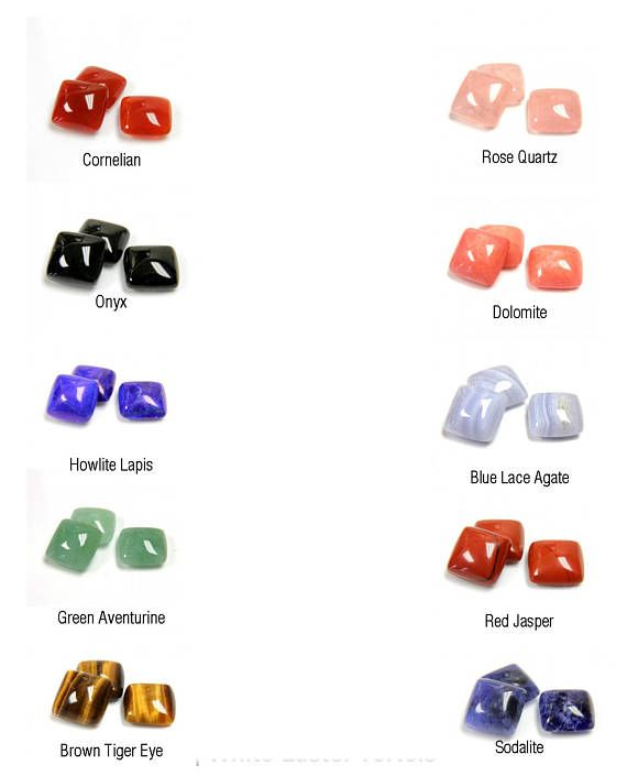 Square Cabochons Cabs 12mm in 10 Gemstone options Cornelian