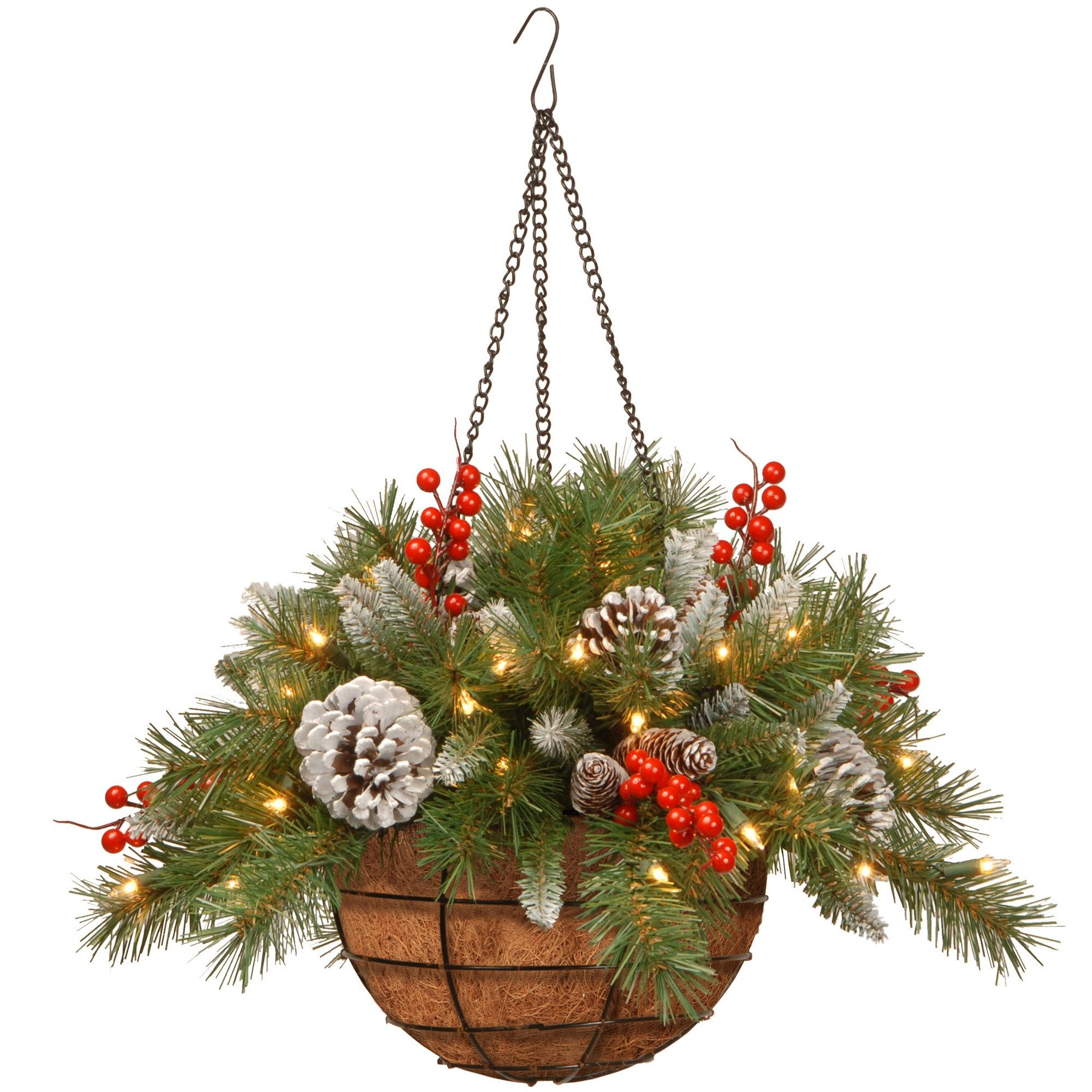 A Hanging Basket With Pine Tree Branches Or Any Christmas Tree Branch Pi Christmas Hanging Baskets Fun Christmas Decorations Pine Cone Christmas Decorations