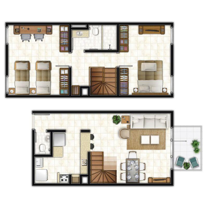 planos de casas de 2 pisos simples