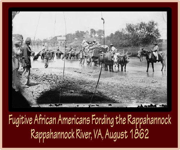 Fugitive African Americans Fording the Rappahannock - Rappahannock River, VA, August 1862