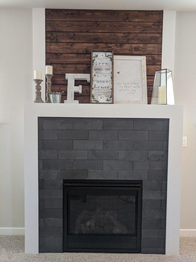 Wood And Tile Fireplace, Charcoal Slate Fireplace Hearth Tile
