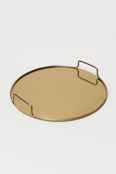 Round Metal Tray Gold Colored Home All H M Us Metal Tray Decor Metal Trays Gold Tray Decor