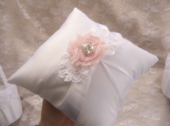 Shabby Ring Bearer Pillow Wedding Pillow Ring Pillow Shabby Chic Wedding Basket White or Ivory by nanarosedesigns on Etsy https://www.etsy.com/listing/179922797/shabby-ring-bearer-pillow-wedding-pillow