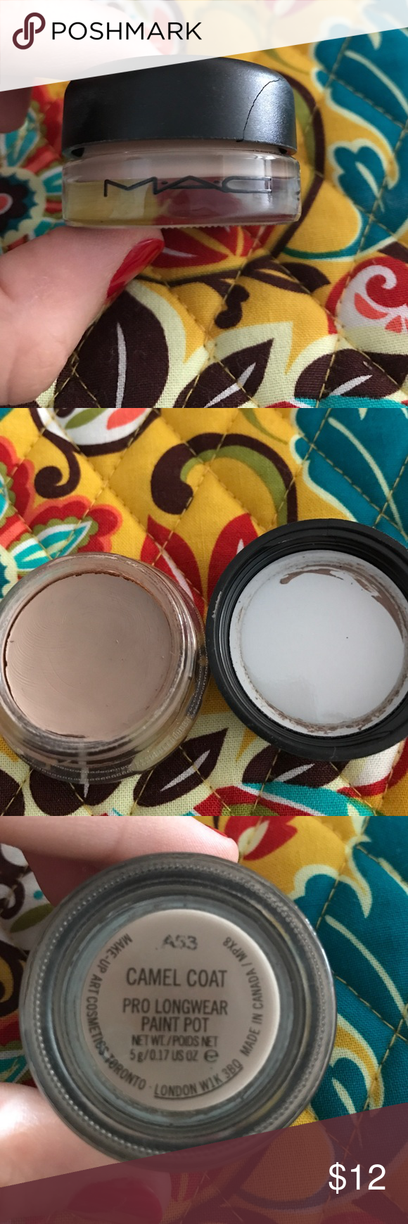 MAC pro longwear paint pot- Camel Coat MAC pro longwear paint pot....color- Camel Coat...may have been used once...great condition except for a small crack on the lid which can be seen in the cover picture...5g MAC Cosmetics Makeup Eyeshadow