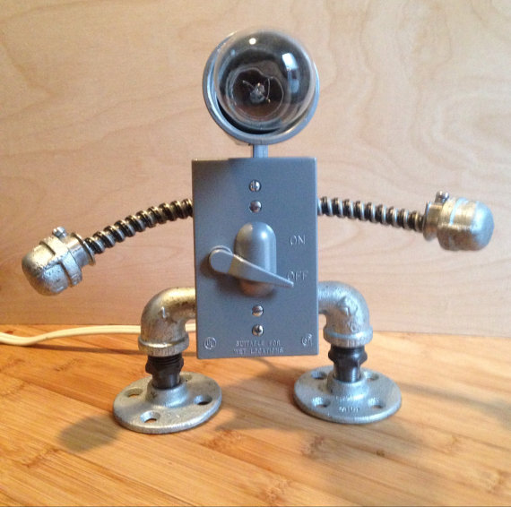 Robot Lamp ( lever switch) | Robot, Etsy and Metal art ...