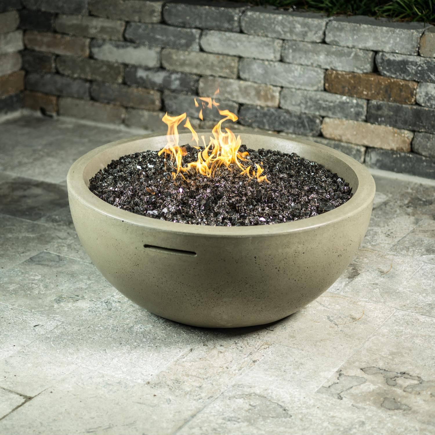 36 Inch Natural Gas Fire Bowl Cafe Blanco Fire Bowls Gas Fires Fire Glass