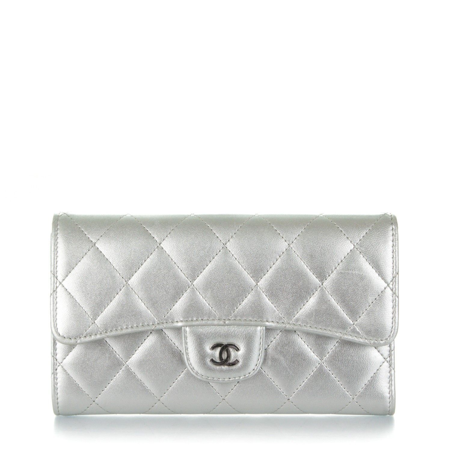 0413650678bd This is an authentic CHANEL Metallic Lambskin Quilted Large Flap Wallet in  Silver. This classic