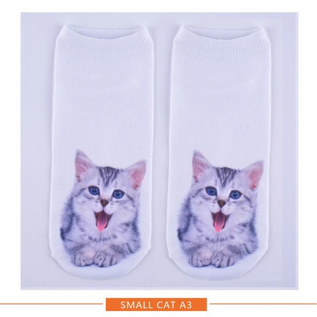 45bf80a07948 Hot Fashion Cat Printed Ankle Socks Women's Harajuku Style Animal Pattern Casual  socks 3D Boat Fuuny Socks for Girls