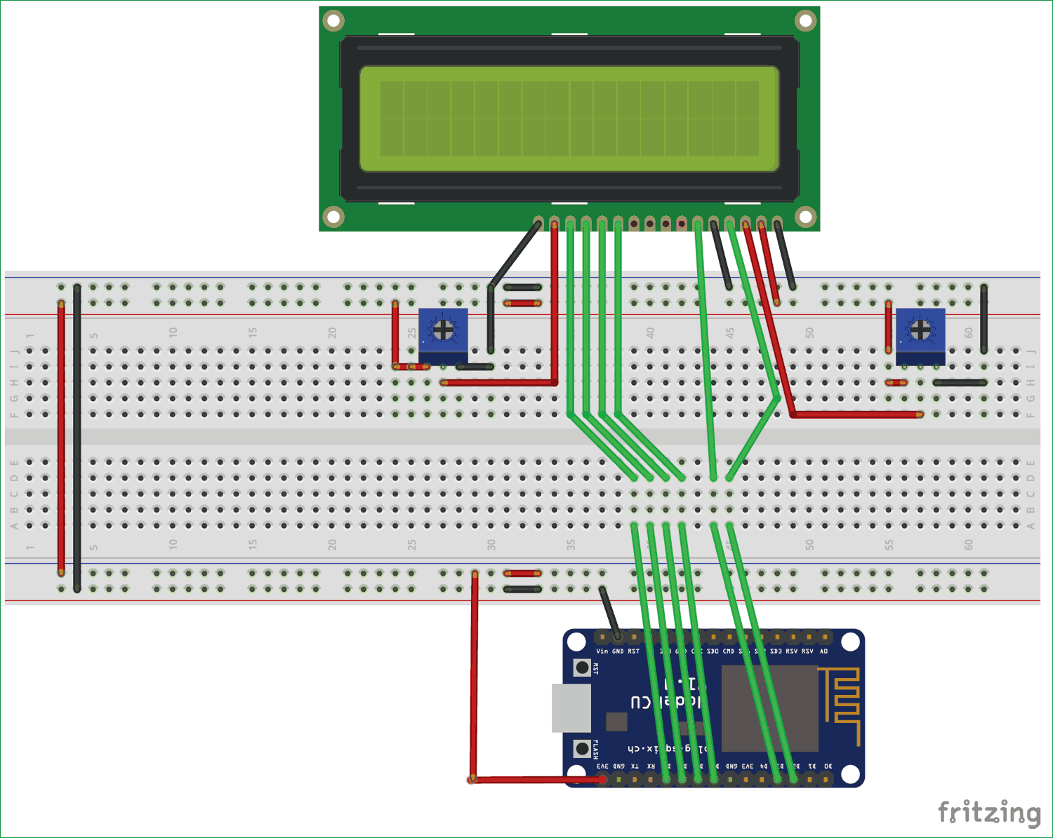 Interfacing Lcd With Nodemcu Without Using I2c Electronics Projects Circuit Diagram Electronics Circuit