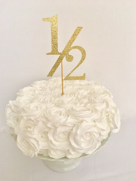 1 2 Birthday Gold Glitter Cake Topper Half