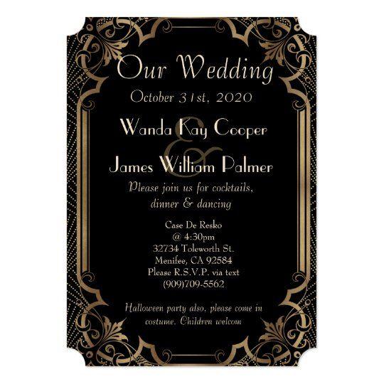 Glam Gold Art Deco Great Gatsby Style Wedding Invitation Zazzle Com Wedding Invitations Gold Wedding Invitations Gatsby Style Wedding