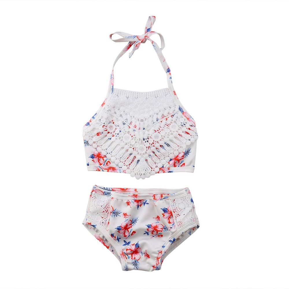 2018 New Baby Girl Swimwear Lace Tassels 2 Piece Set Bikini Baby Bathing Suit Swimsuit 2018 Summer Beachwear | www