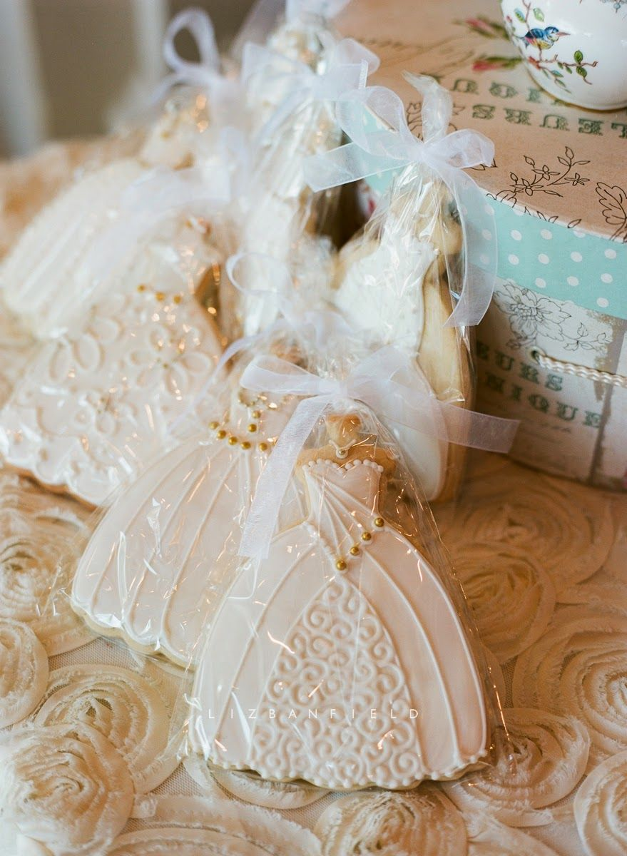 Wedding dress cookies, so pretty to have in silver bowl or