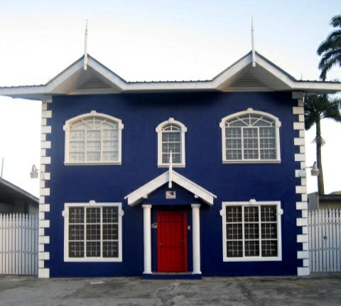 Blue house and red door homeville the future edition for Blue and white house