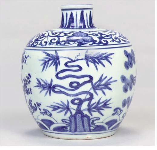 A BLUE AND WHITE OVIFORM JAR, XUANDE MARK, JIAJING, A blue and white oviform jar, Xuande mark, Jiajing painted with the 'Three Friends' growing from rockwork amidst breaking waves, the coiling stems forming stylised auspicious characters Fu Shou Kang Ning ('prosperity, longevity, health and peace'), the high shoulder with a foliated scroll, with upright stiff leaves around the neck, underglaze blue six-character Xuande mark — 5 5/8in. (14.4cm.) high